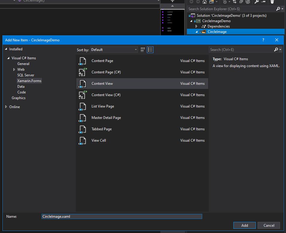 Copie d'écran pour illustrer l'ajout d'un ContentView dans Xamarin.Forms