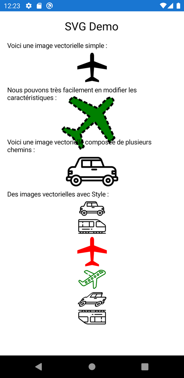 Un florilège d'images vectorielles dans Xamarin.Forms