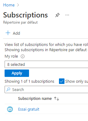 Sélection de la subscription