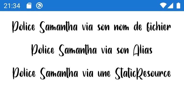 Copie d'écran d'une font embarquée sous Android