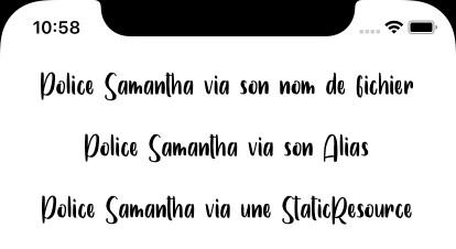 Copie d'écran d'une font embarquée sous iOS